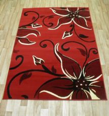 Modern Approx 6x4 115cmx165cm Woven Lily Design Rug Sale Top Quality Red/Black